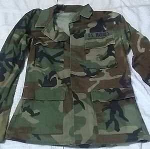 Old Military Issued Marines Camo Button Jacket